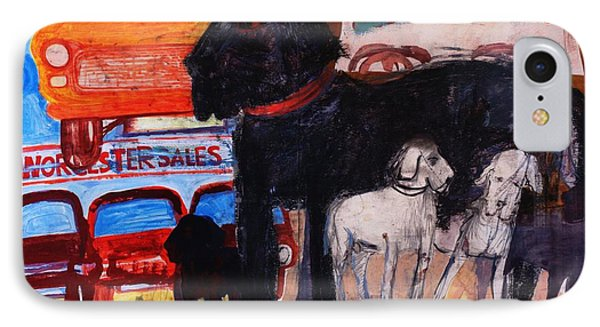 Dog At The Used Car Lot, Rex Gouache On Paper IPhone Case by Brenda Brin Booker