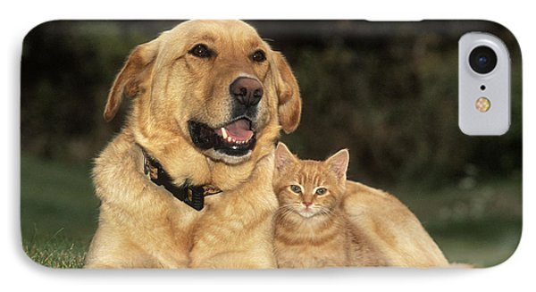 Dog With Kitten IPhone Case by Rolf Kopfle