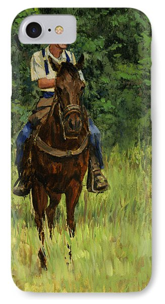 Jack On His Horse Chico IPhone Case by Don  Langeneckert