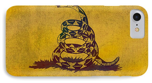 Don't Tread On Me Gadsden Flag Patriotic Emblem On Worn Distressed Yellowed Parchment IPhone Case by Design Turnpike