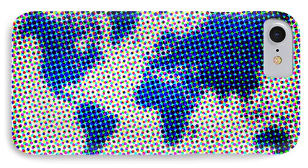 Dotted Blue World Map Phone Case by Naxart Studio