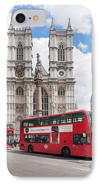 Double-decker Buses Passing IPhone Case by Panoramic Images