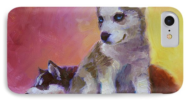 Double Trouble - Alaskan Husky Sled Dog Puppies IPhone Case by Karen Whitworth