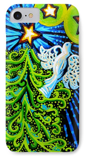 Dove And Christmas Tree IPhone Case by Genevieve Esson