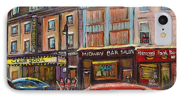 Downtown Montreal Streetscene Phone Case by Carole Spandau