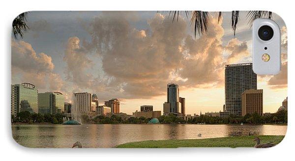 Downtown Orlando Skyline Lake Eola Sunset IPhone Case by Silvio Ligutti