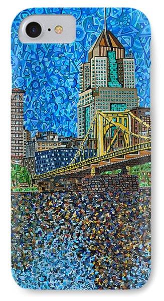 Downtown Pittsburgh - Roberto Clemente Bridge IPhone Case by Micah Mullen