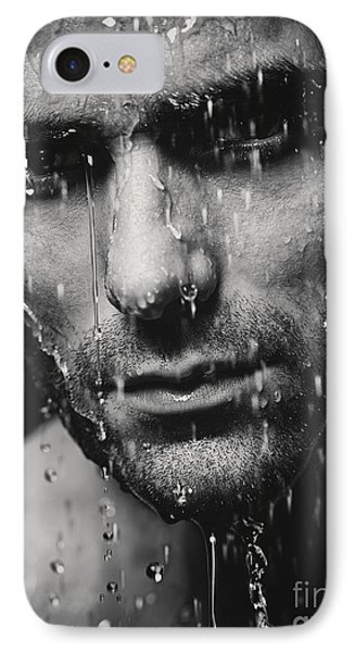 Dramatic Portrait Of Man Wet Face Black And White Phone Case by Oleksiy Maksymenko