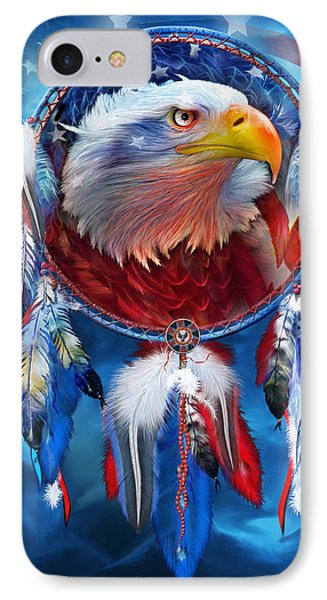 Dream Catcher - Eagle Red White Blue Phone Case by Carol Cavalaris