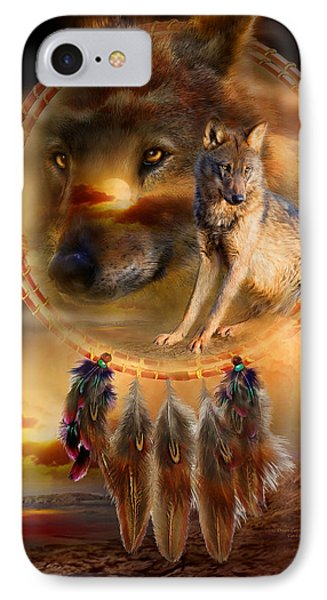 Dream Catcher - Wolfland IPhone Case by Carol Cavalaris