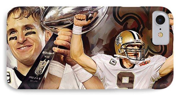 Drew Brees New Orleans Saints Quarterback Artwork IPhone Case by Sheraz A