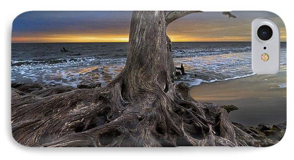 Driftwood On Jekyll Island IPhone Case by Debra and Dave Vanderlaan
