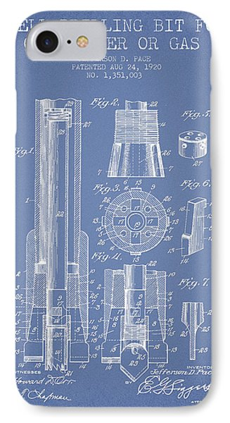 Drilling Bit For Oil Water Gas Patent From 1920 - Light Blue IPhone Case by Aged Pixel
