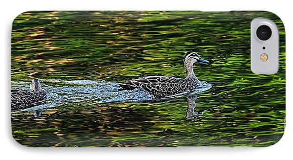 Ducks On Green Reflections - Panorama Phone Case by Kaye Menner