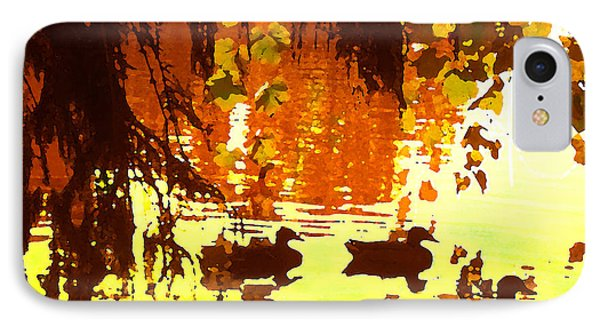 Ducks On Red Lake Phone Case by Amy Vangsgard