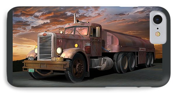 Duel Truck With Trailer IPhone Case by Stuart Swartz