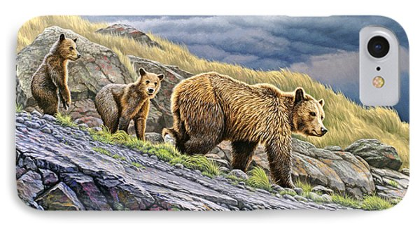 Dunraven Pass Grizzly Family IPhone Case by Paul Krapf