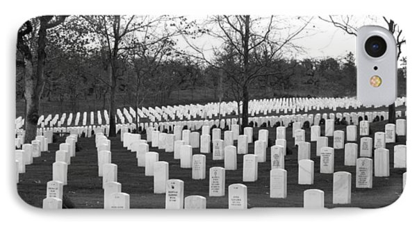 Eagle Point National Cemetery In Black And White Phone Case by Mick Anderson