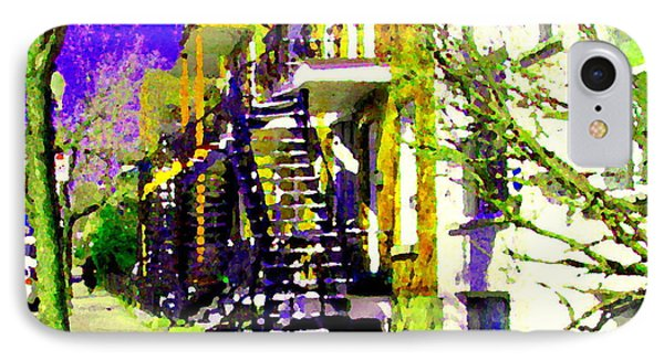 Early Spring Stroll City Streets With Spiral Staircases Art Of Montreal Street Scenes Carole Spandau Phone Case by Carole Spandau
