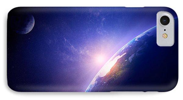 Earth Sunrise In Foggy Space Phone Case by Johan Swanepoel