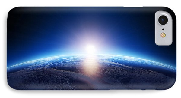 Earth Sunrise Over Cloudy Ocean  IPhone Case by Johan Swanepoel