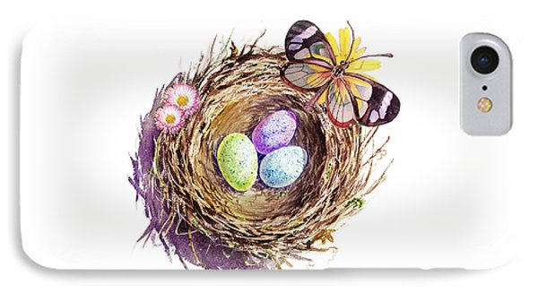 Easter Colors Bird Nest IPhone 7 Case by Irina Sztukowski