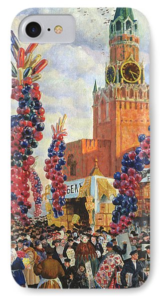 Easter Market At The Moscow Kremlin IPhone Case by Boris Mikhailovich Kustodiev