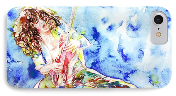 Eddie Van Halen Playing The Guitar.1 Watercolor Portrait IPhone 7 Case by Fabrizio Cassetta
