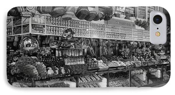 Edw. Neumann, Broadway Market, Detroit, Michigan, C.1905-15 Bw Photo IPhone Case by Detroit Publishing Co.