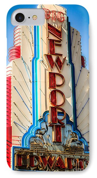 Edwards Big Newport Theatre Sign In Newport Beach IPhone Case by Paul Velgos
