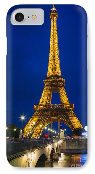 Eiffel Tower By Night Phone Case by Inge Johnsson