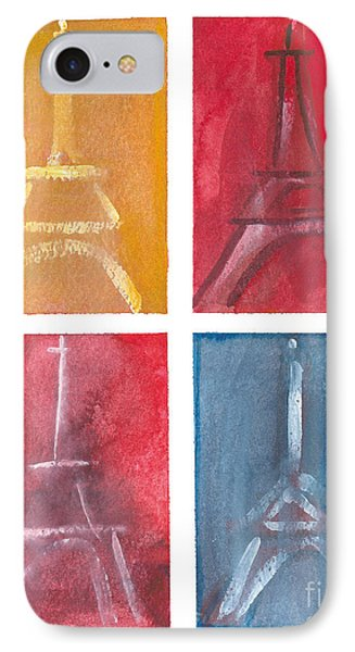 Eiffel Tower Paintings Of 4 Up Phone Case by Robyn Saunders