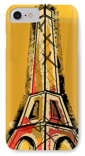 Eiffel Tower Yellow Black And Red Phone Case by Robyn Saunders