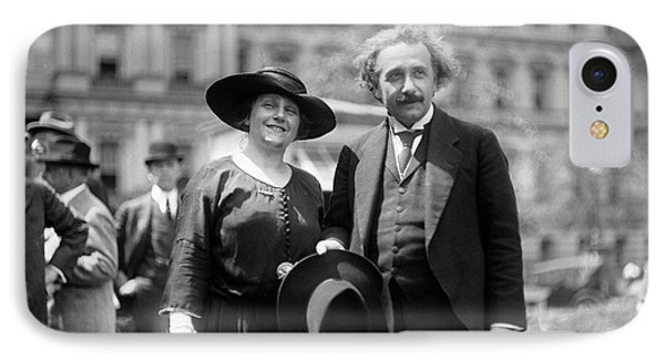 Einstein And His Second Wife Elsa IPhone Case by Library Of Congress