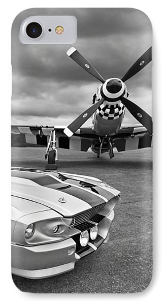 Eleanor Mustang With P51 Black And White IPhone 7 Case by Gill Billington