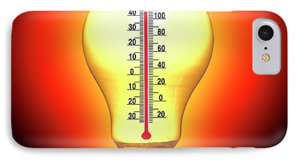 Electrical Lightbulb And Thermometer IPhone Case by Victor De Schwanberg