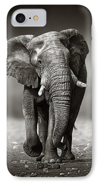 Elephant Approach From The Front IPhone Case by Johan Swanepoel