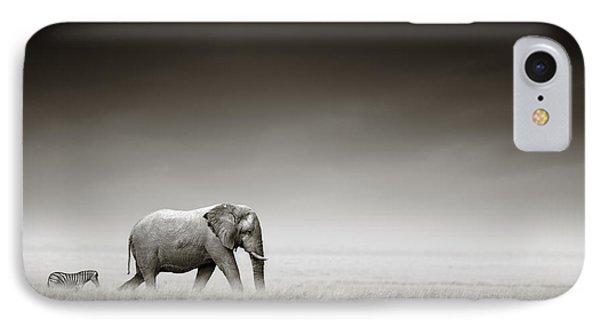 Elephant With Zebra IPhone 7 Case by Johan Swanepoel