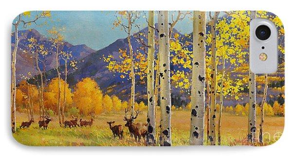 Elk Herd In Aspen Grove IPhone Case by Gary Kim