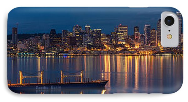 Elliott Bay Seattle Skyline Night Reflections  IPhone Case by Mike Reid