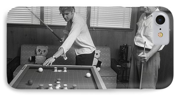 Elvis Presley And Vernon Playing Bumper Pool 1956 IPhone Case by The Phillip Harrington Collection