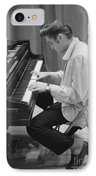 Elvis Presley On Piano While Waiting For A Show To Start 1956 IPhone 7 Case by The Phillip Harrington Collection