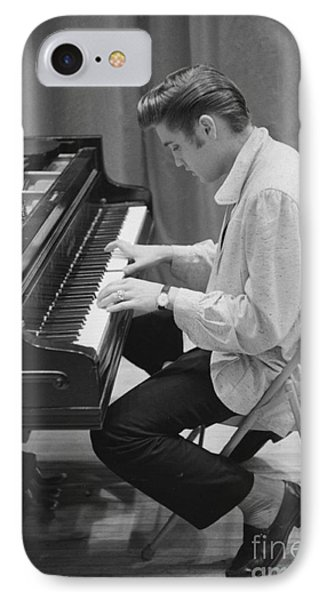 Elvis Presley On Piano While Waiting For A Show To Start 1956 IPhone Case by The Harrington Collection
