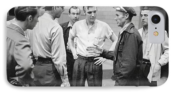 Elvis Presley Speaking With Police Officers In 1956 IPhone Case by The Phillip Harrington Collection