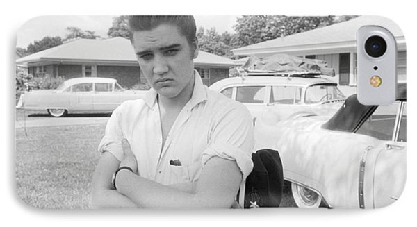 Elvis Presley With His Cadillacs 1956 IPhone 7 Case by The Phillip Harrington Collection