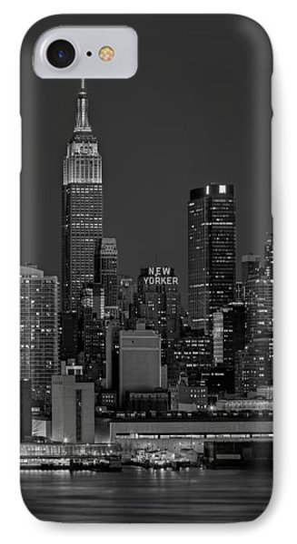 Empire State Building In Christmas Lights Bw IPhone Case by Susan Candelario