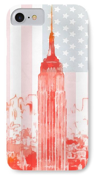 Empire State Building On American Flag IPhone Case by Dan Sproul