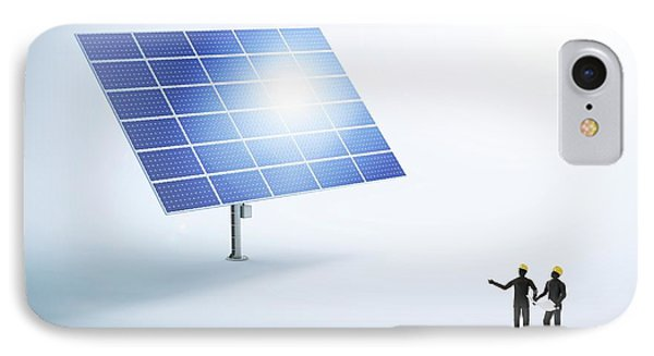 Engineers And Solar Panels IPhone Case by Andrzej Wojcicki