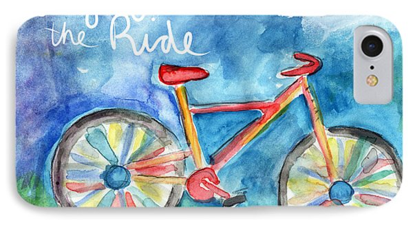 Enjoy The Ride- Colorful Bike Painting IPhone Case by Linda Woods