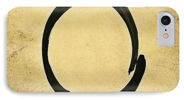 Enso #4 - Zen Circle Abstract Sand And Black IPhone Case by Marianna Mills